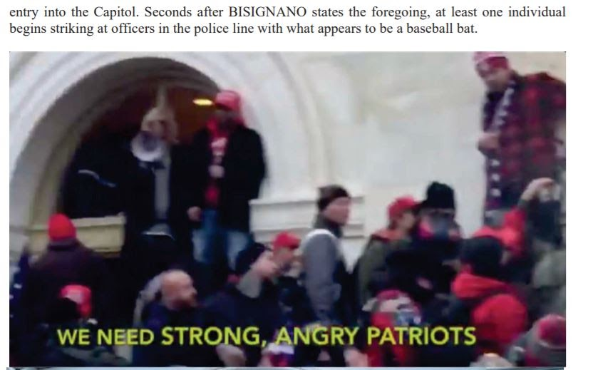 Screenshot from video of Bisignano saying 'We need strong, angry patriots.'