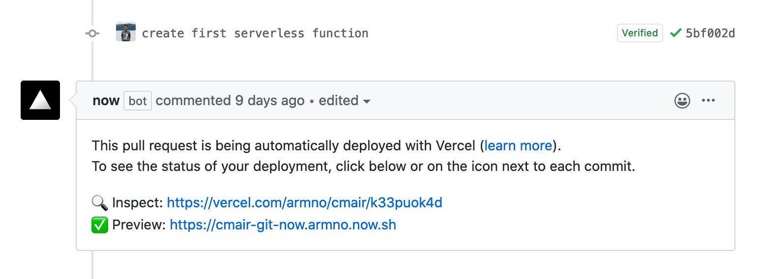 Vercel integration on GitHub's pull request