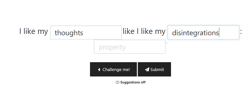 "The create joke menu. A user could press ""Challenge me"" to already fill in some blanks."