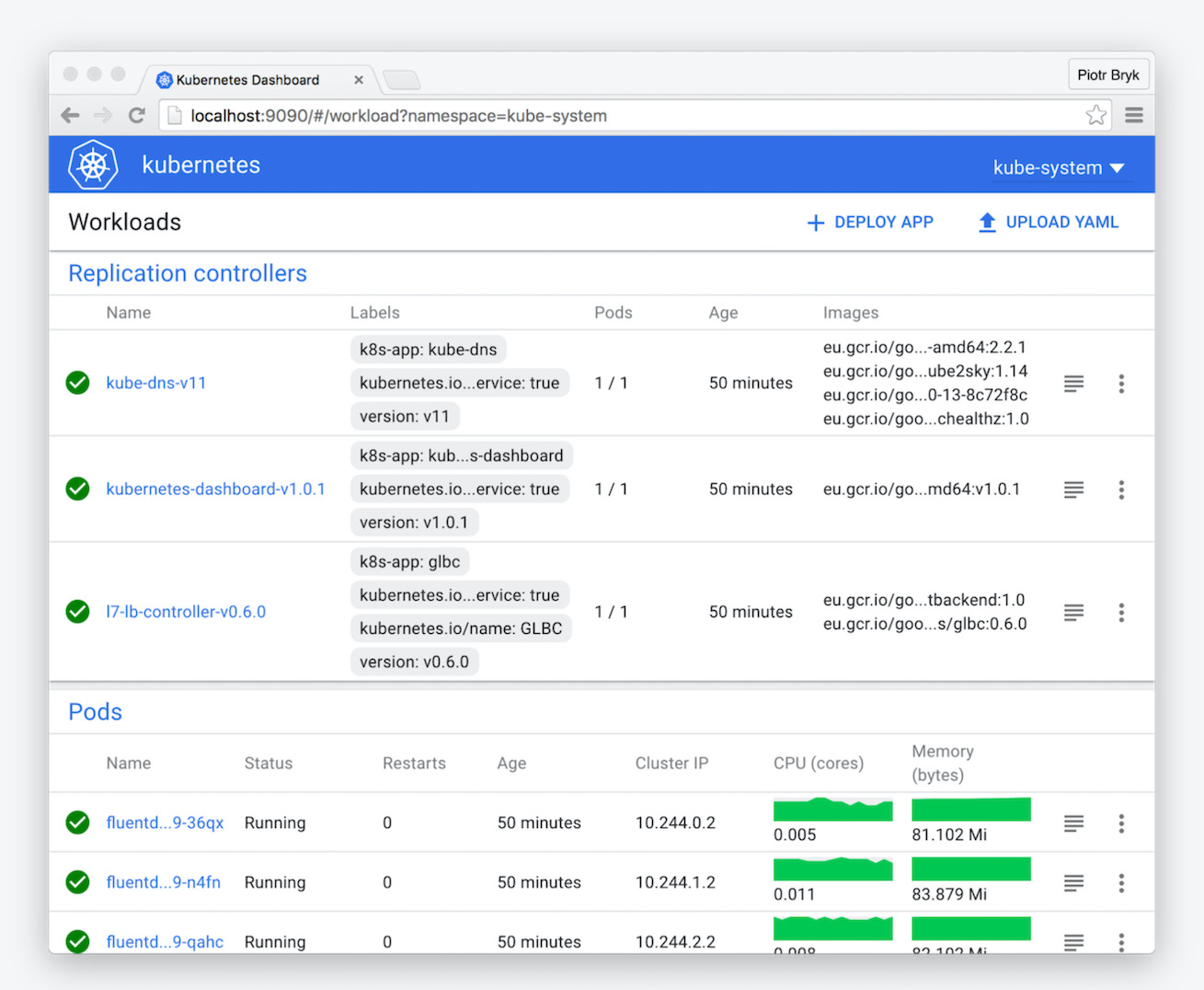 Replications controllers on the Kubernetes Dashboard
