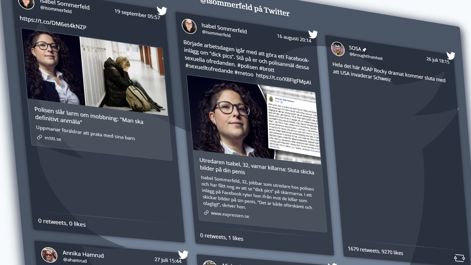 Skewed screenshot of resulting Tweets section of web page.