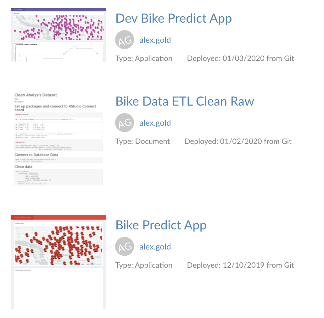 The RStudio Connect home screen with the prod app in red and the dev app in purple.