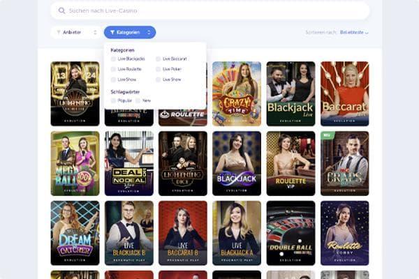True Flip Online Casino Live Casino Bereich Übersicht
