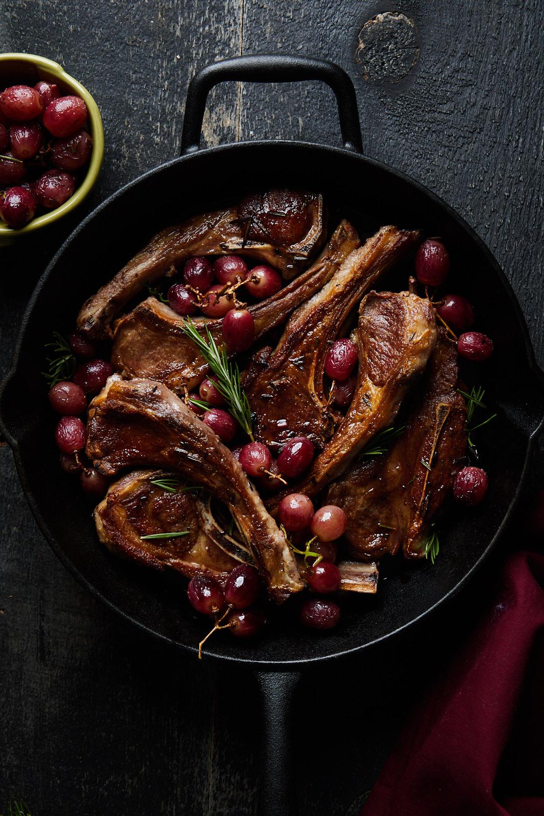 Rosemary Garlic Lamb Chops With Grapes