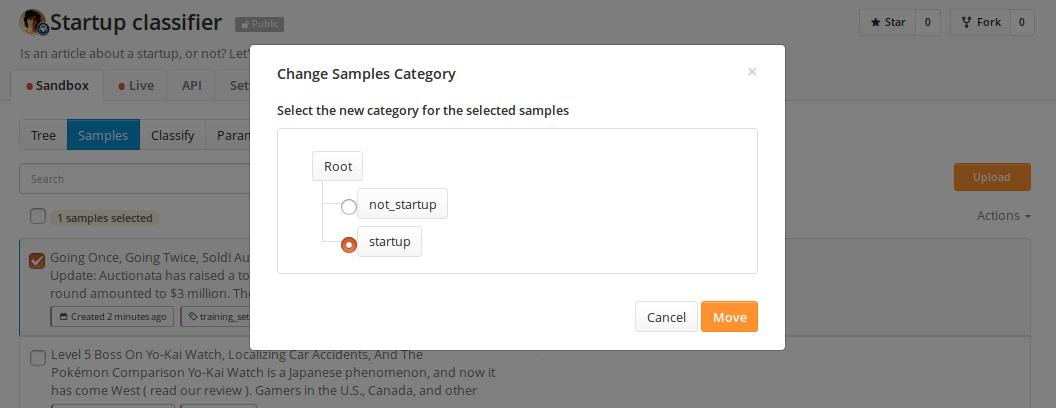 tagging a training sample