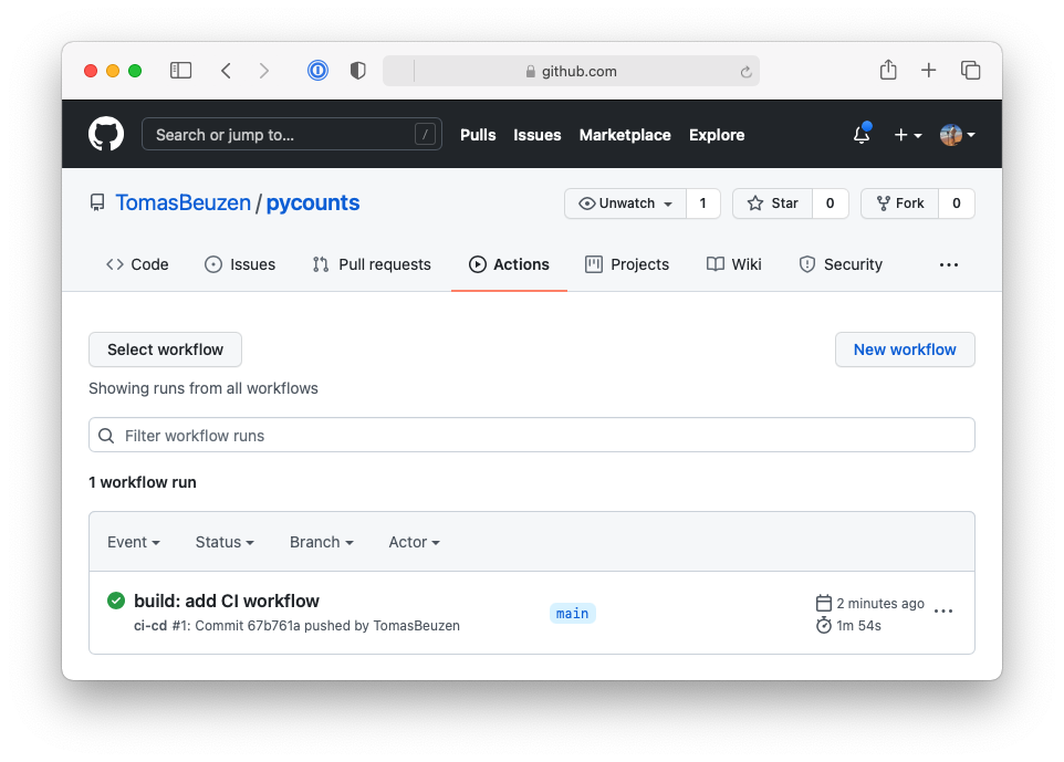 Successfully run continuous integration workflow on GitHub.