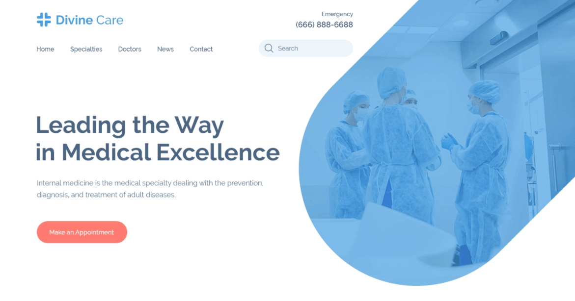 screenshot of Divine Care Website