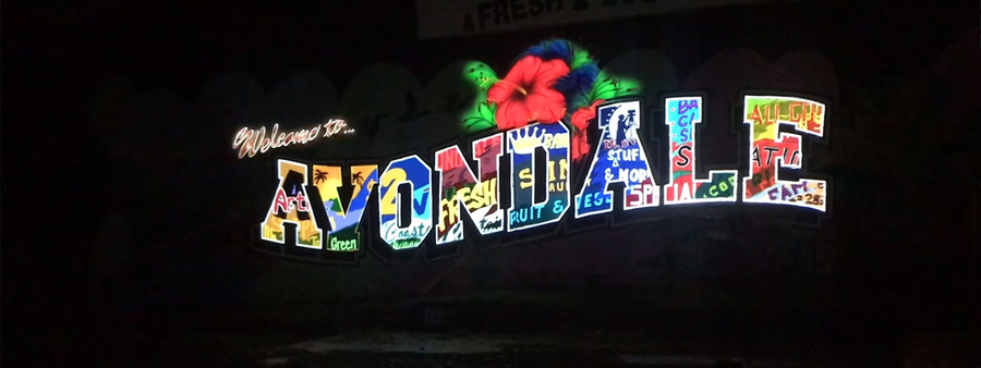 Avondale project projected on wall