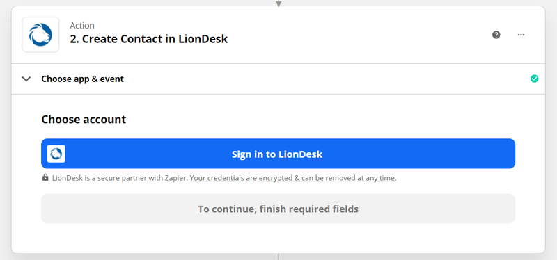 Connect to your LionDesk account in Zapier