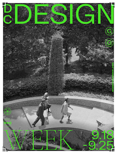 DC Design Week promotional poster artwork with black and white photo