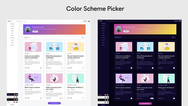 Dashi Ghost Theme color scheme picker
