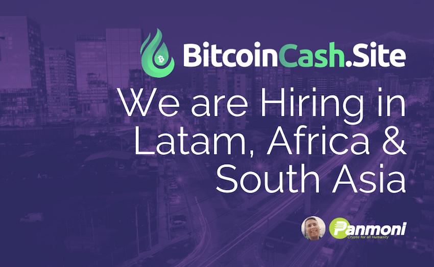 We're Hiring Team Members for BitcoinCash.site