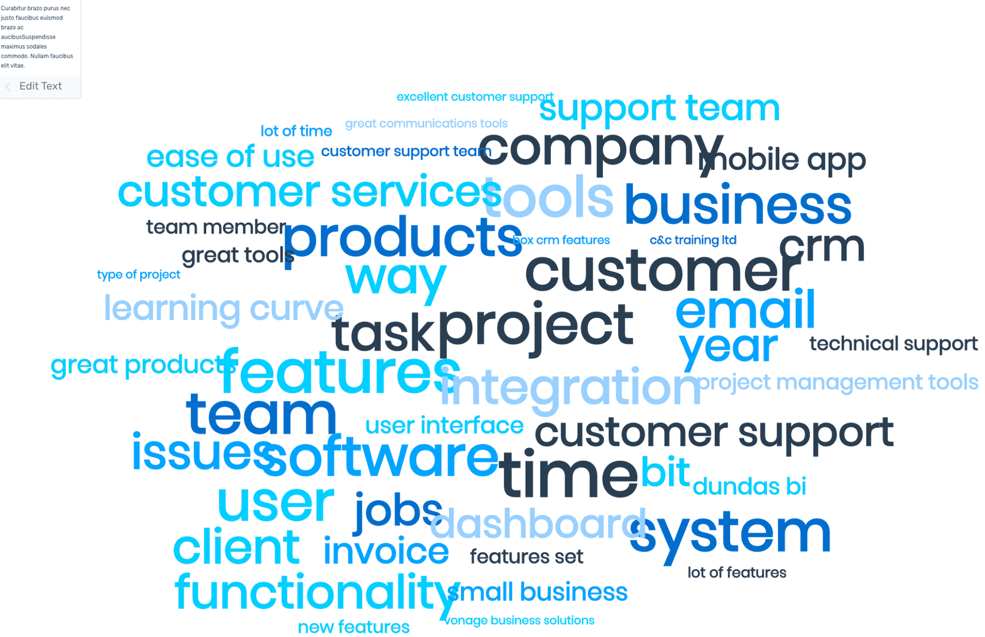An example of a word cloud from SaaS software review data.