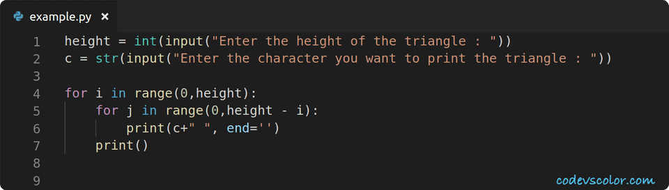 python invert right angle triangle character