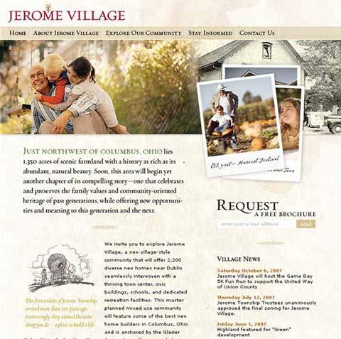 Jerome Village website screenshot