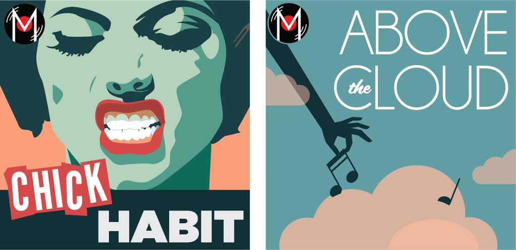 Artwork collage for Chick Habit and Above the Cloud.