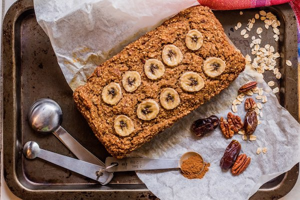 Vegan sugarless oat flour banana bread