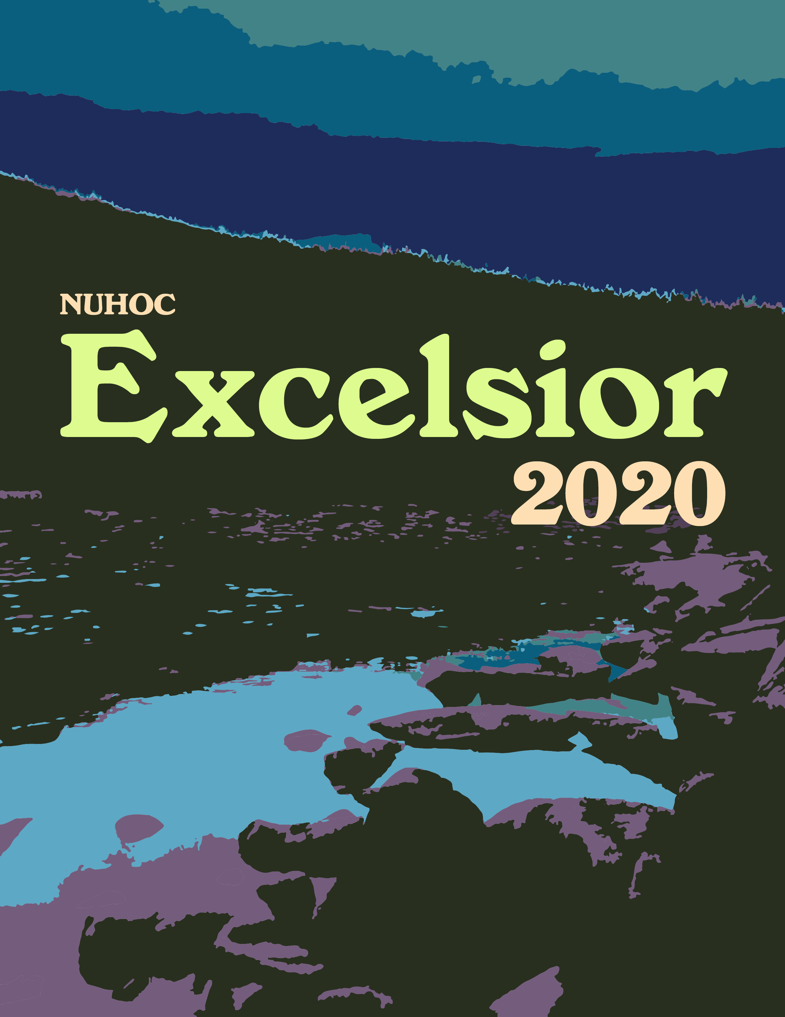 'NUHOC Excelsior 2020' is written on an illustrative background depicting a mountain and a stream.