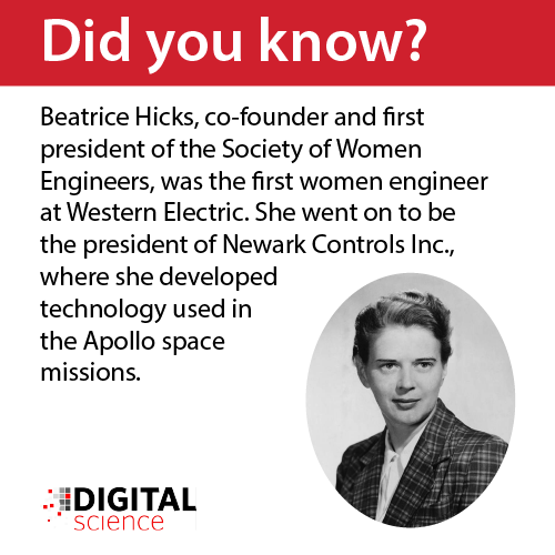 did you know: Beatrice Hicks, co-founder and first president of the Society of Women Engineers, was the first woman engineer at Western Electric. She went on to be the president of Newark Controls Inc., where she developed technology used in the Apollo space missions.