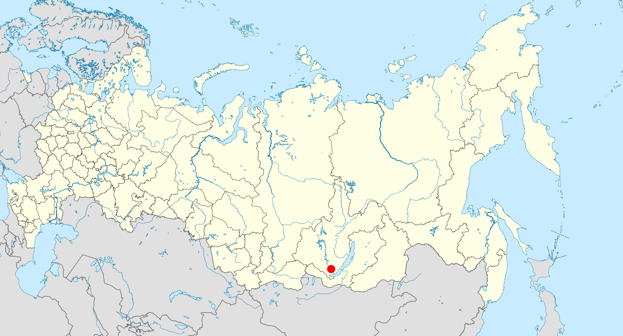 Location of Irkutsk, deep in Siberia.