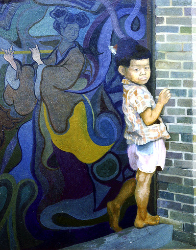 painting of a small boy leaning against a mural