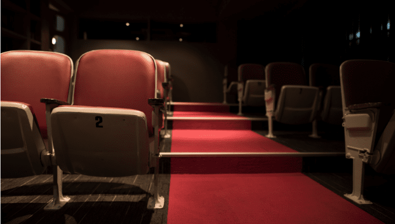 Red theatre chairs, empty room, film or play showing, walkway up to stage #KPI