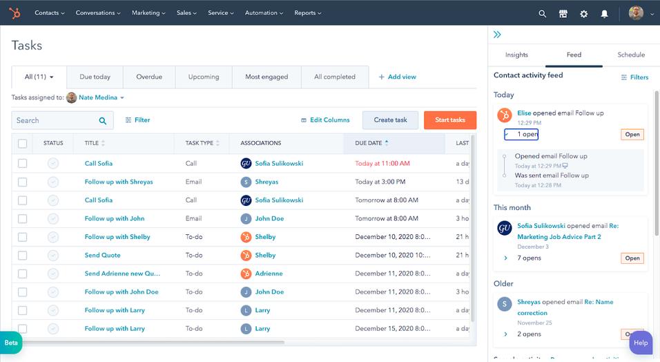 Hubspot task management software example