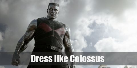 Colossus skin is protected by top-notch metal so his skin has a metallic silver color to it. He wears a black vest, black pants, and black boots as well.