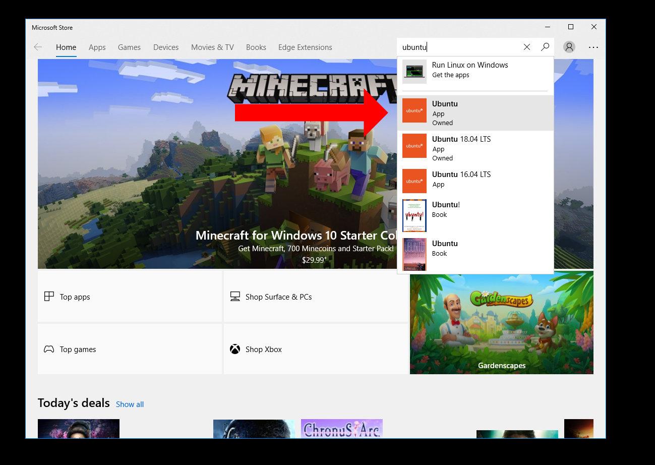 Ubuntu Download on Windows 10 Store