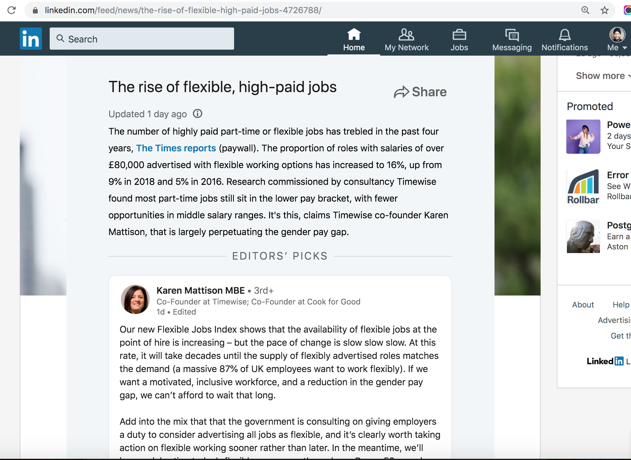 LinkedIn Article about the rise of high paid yet flexible jobs