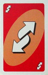 Vacation Orange-Red Uno Reverse Card