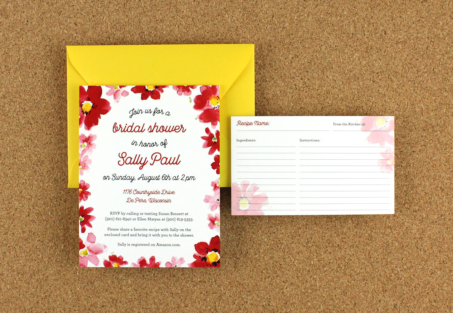 Sally's bridal shower invitations'
