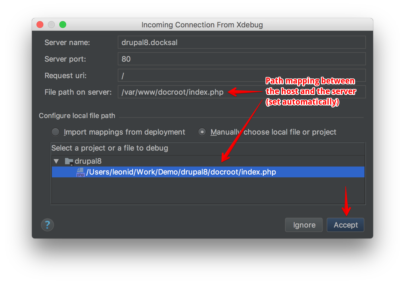 PHPStorm drush path mapping