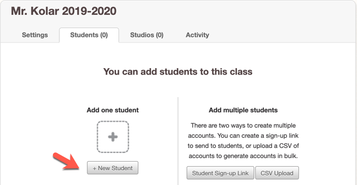 "Screenshot of ""Students"" tab with an arrow point towards ""+ New Student"" button"