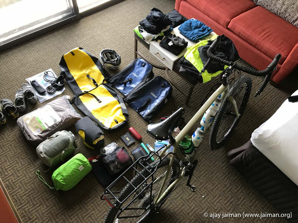 Items I carried on my month long self-supported cycling trip (Northern Tier, USA)
