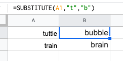 An example of the Excel formula Substitute