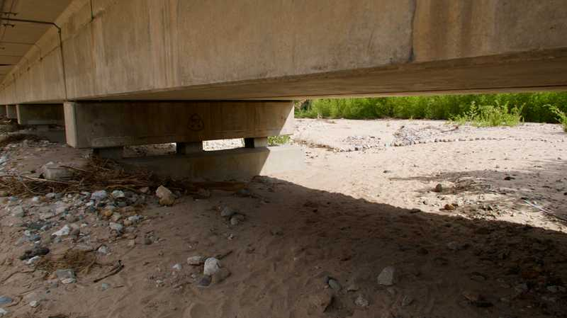 Low overpass at Interstate 15