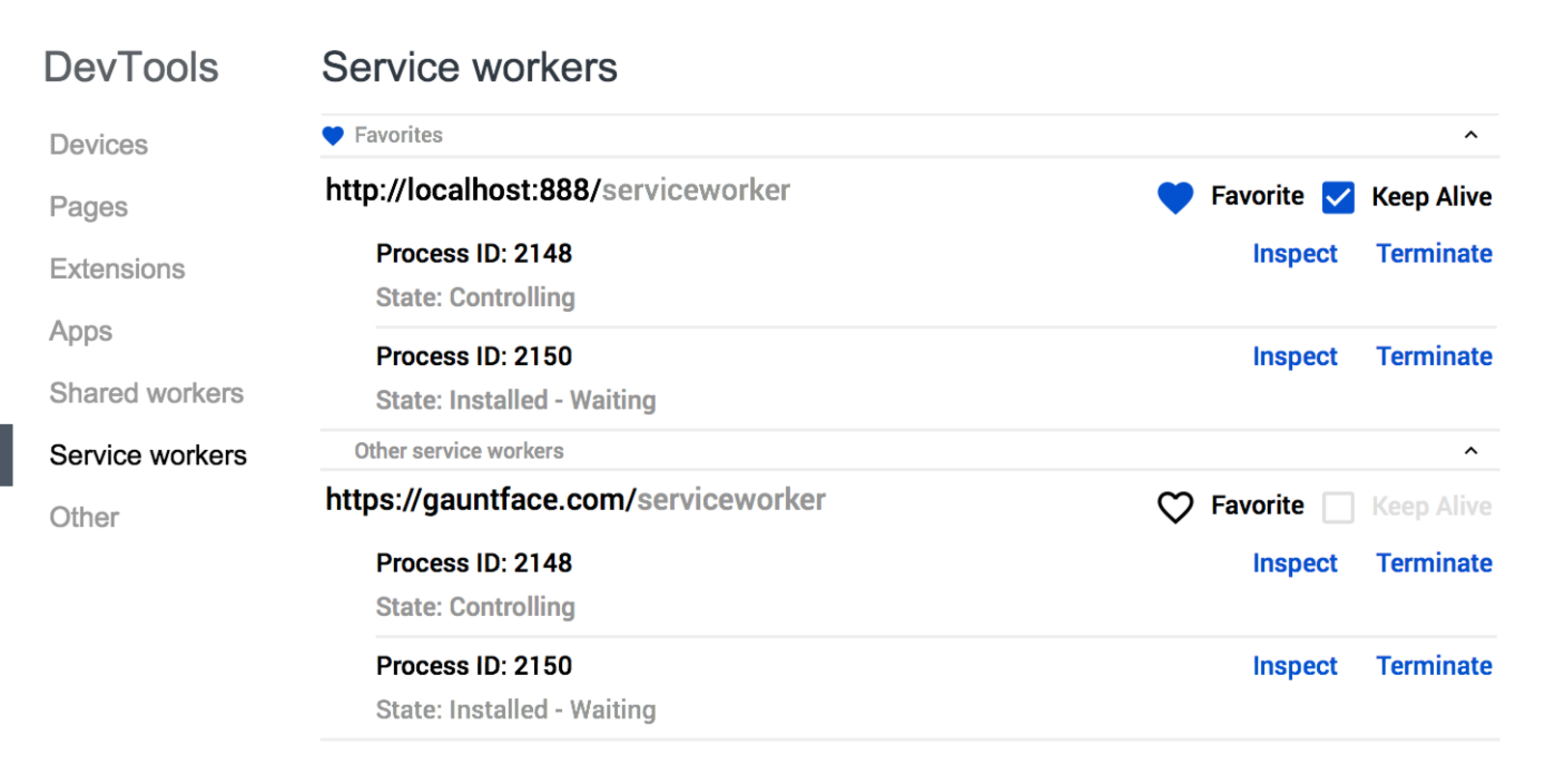 DevTools Service Worker Concept