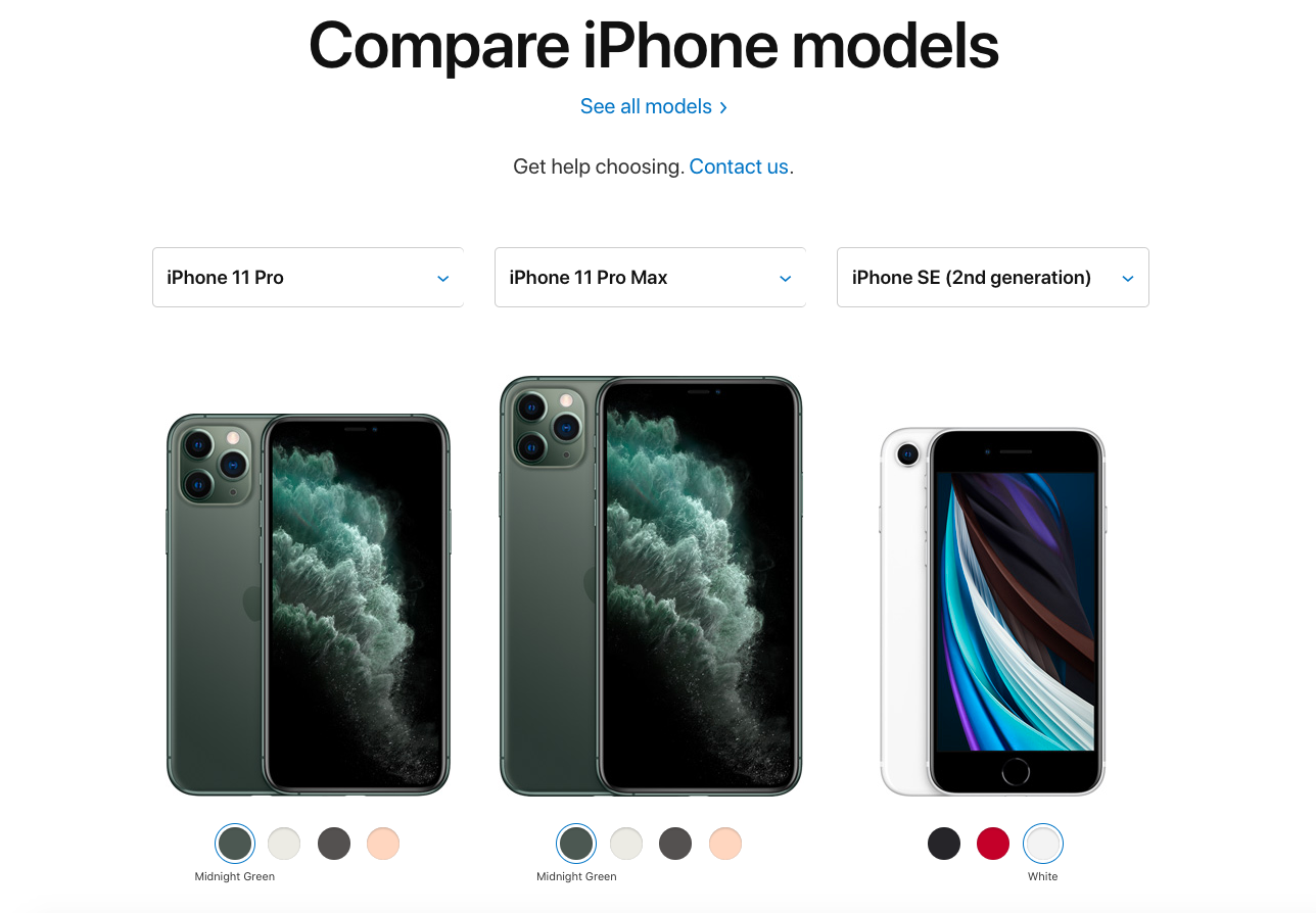 "Screenshot of Apple's ""compare phone models"" page, featuring three phone selections with color options"