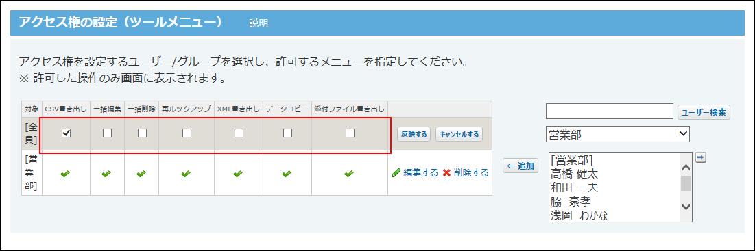 アクセス権を設定している画像