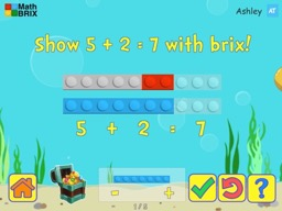 Basic addition up to 10 using brix Math Game