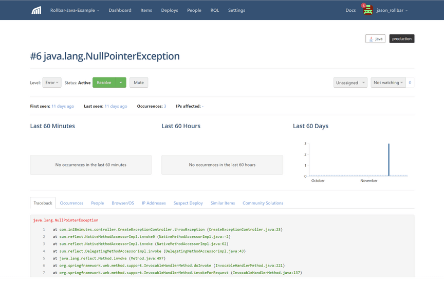 Spring exception screenshot