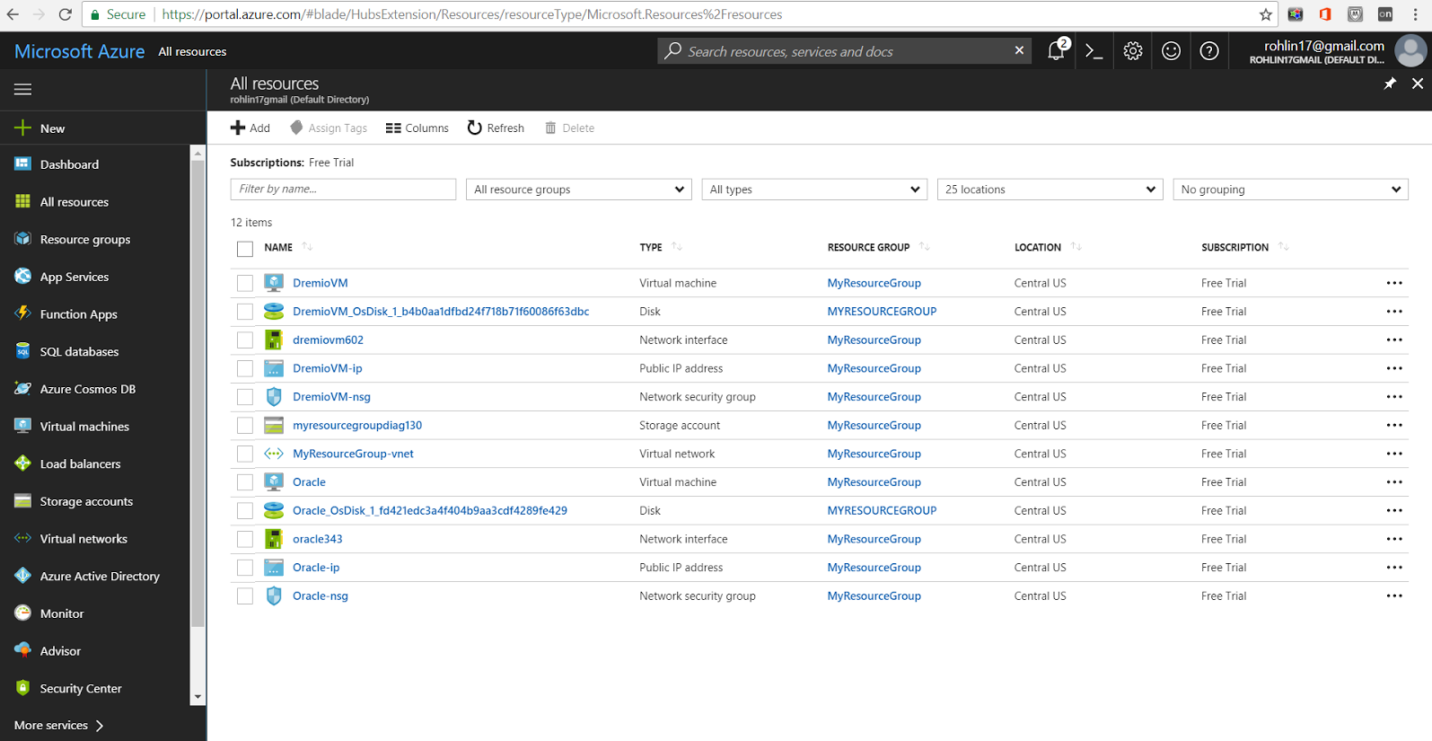 View resources on Azure