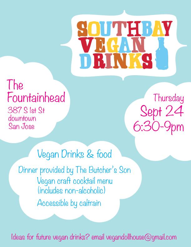 South Bay Vegan Drinks September 2015 flier