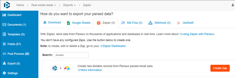 """Click on """"create zap"""" to export the data"""