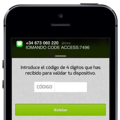 iomando app 2.0 —SMS code