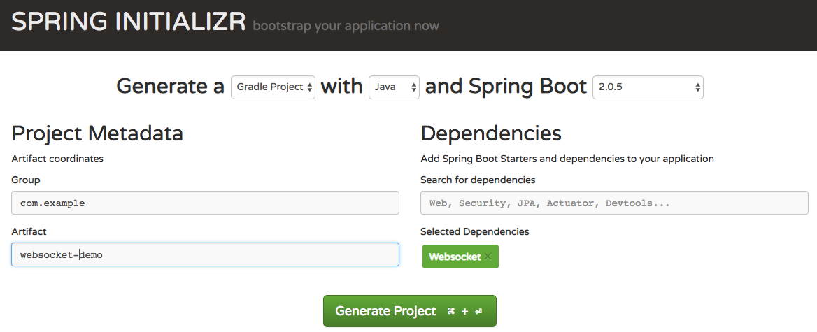 Spring Initializer Homepage