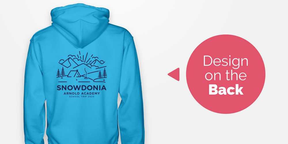 A school trip hoodie design printed on the back of a hoodie