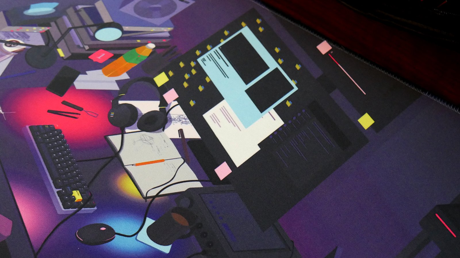Closeup photo of the deskmat artwork.