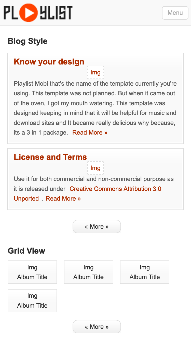 Screenshot of Playlist Mobi mobile website template